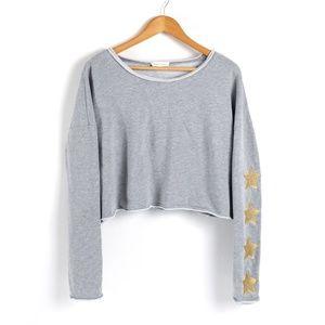 Honey Punch Gray Crop Top Star Sleeve Sweater